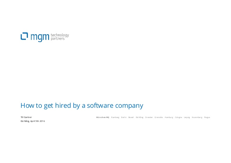 [DevDay 2016] How to get hired by a software company - Speaker: Till Gartner - Executive Vice President at MGM Technology Partners